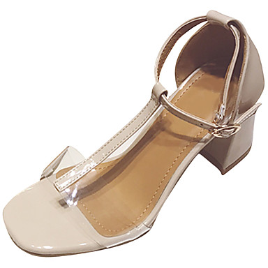 Damen Sandalen Komfort Pumps Transparente Schuh PU Frühling Sommer Kleid Party & Festivität Schnalle Blockabsatz Schwarz Mandelfarben5 -