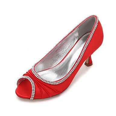 Női Cipő Szatén Tavasz / Nyár Magasított talpú / Kényelmes Esküvői cipők Cicasarok / Alacsony / Tűsarok Köröm Strasszkő / Glitter /