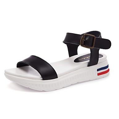 Damen Sandalen Komfort Sommer Nappaleder Normal Creepers Weiß Schwarz Flach