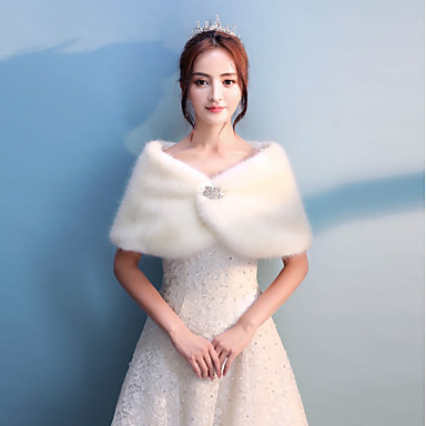 Faux Fur Wedding / Party / Evening Women's Wrap With Rhinestone Capelets
