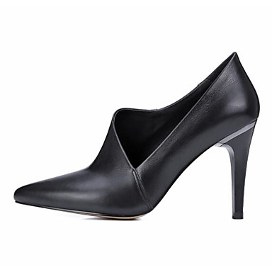 Damen Schuhe Echtes Leder PU Frühling Herbst Pumps High Heels Für Normal Schwarz