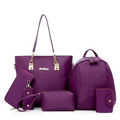 Women's Bags Nylon Bag Set 5 Pieces Purse Set Zipper Black / Purple / Fuchsia / Bag Sets