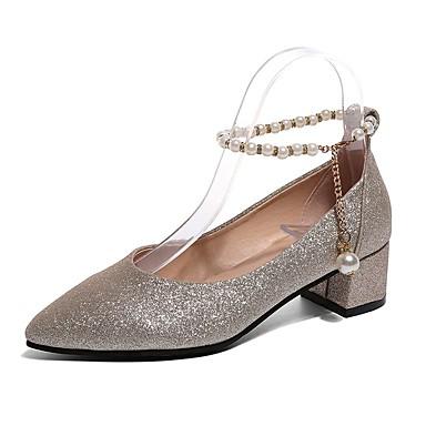 Női Cipő PU Nyár Kényelmes Magassarkúak blokk Heel Erősített lábujj Flitter mert Arany Fekete Ezüst