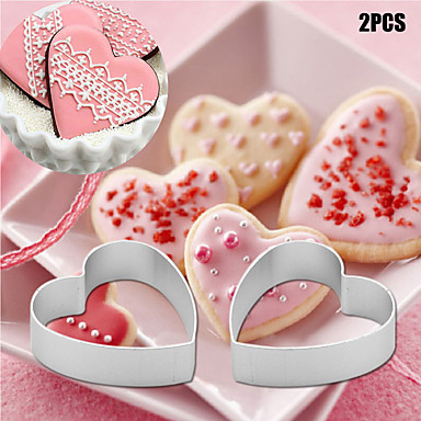 2pcs/set Kitchen small Loving Heart Shaped Aluminium Tools Alloy Pastry Biscuit Cookie Cutter Baking Mould