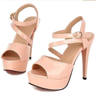Damen Schuhe PU Sommer Komfort Sandalen Für Normal Weiß Schwarz Gelb Rot Rosa