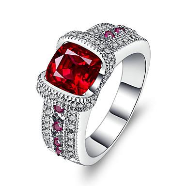 Damen Kubikzirkonia / Synthetischer Rubin Bandring - Silber Luxus, Retro 6 / 7 / 8 Rot Für Hochzeit / Verlobung / Zeremonie