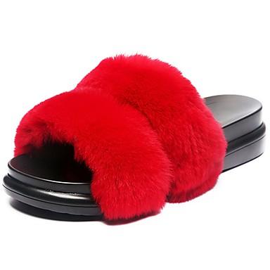 Női Cipő Tollú/szőrme Ősz Kényelmes Papucs és papuc Tipegők Kerek orrú mert Ruha Fekete Szürke Katonai zöld Piros