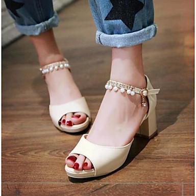 Damen Schuhe PU Sommer Komfort Sandalen Für Normal Weiß Beige Blau