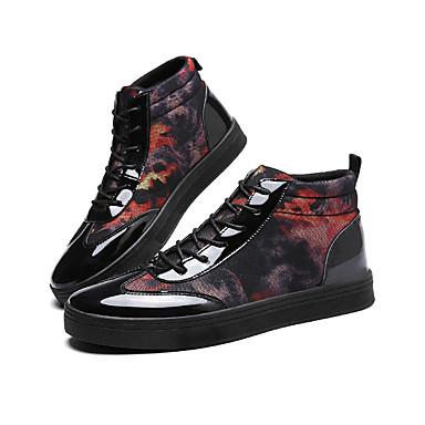 Herrn Schuhe Kunstleder Frühling Herbst Komfort Sneakers Walking Booties / Stiefeletten Schnürsenkel für Normal Schwarz/Rot Blau und
