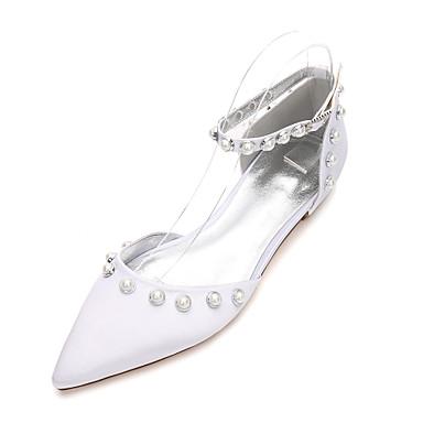 Női Cipő Szatén Tavasz / Nyár Kényelmes / Mary Jane / D'Orsay és kétrészes Esküvői cipők Lapos Erősített lábujj Gyöngy / Hamis gyöngy Kék