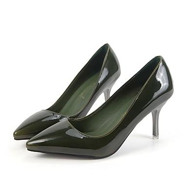 Mujer Tacones PU Zapatos Vestido Marrón Kitten Dedo 06172572 Suelas luz Otoño con Verde Azul Puntiagudo Tacón Primavera ww0fnrqB