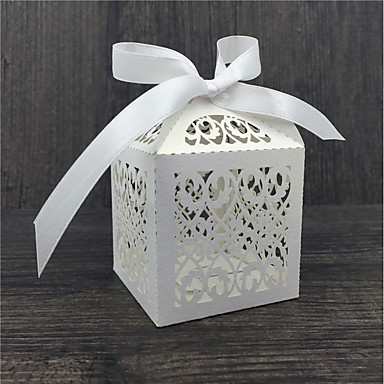 Round Square Cubic Pearl Paper Favor Holder with Ribbons Printing Favor Boxes - 50