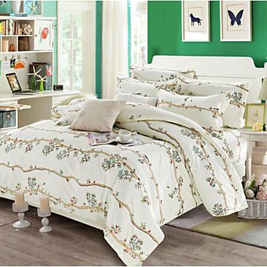 Blumen 4 Stück Baumwolle Baumwolle 4-teilig (1 Bettbezug, 1 Bettlaken, 2 Kissenbezüge)
