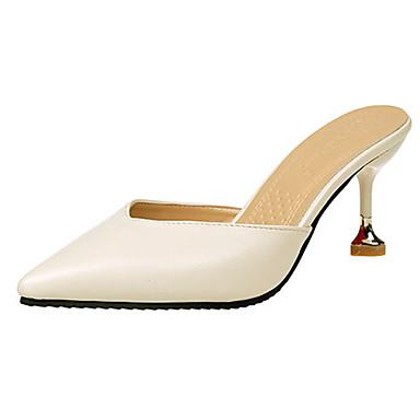 Damen Slippers & Flip-Flops Komfort Sommer PU Normal Schnalle Niedriger Absatz Schwarz Beige Gelb 2,5 - 4,5 cm
