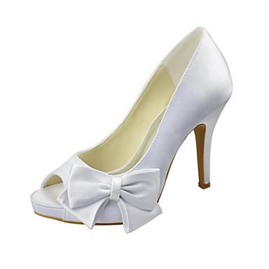 Női Cipő Streccs szatén Tavasz / Nyár Magasított talpú Esküvői cipők Tűsarok Köröm Csokor Fehér