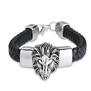 Homme Bracelet Personnalisé Soirée Décontracté Punk Lien / Chaîne Cuir Forme d'Animal Lion Bijoux Pour