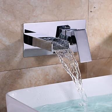 Moderne Moderner Stil 3-Loch-Armatur Wasserfall Wand Keramisches Ventil Einzigen Handgriff Zwei Löcher Chrom, Waschbecken Wasserhahn