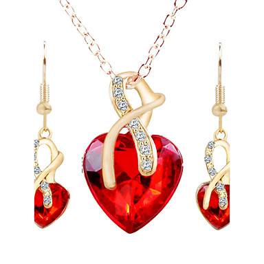 Damen Strass Herz Schmuck-Set - Modisch Herz Ohrstecker Halskette Für Party