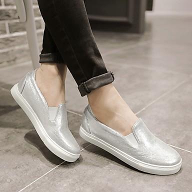 Damen Schuhe Stoff Frühling Sommer Mokassin Loafers & Slip-Ons Flacher Absatz Für Normal Gold Schwarz Silber