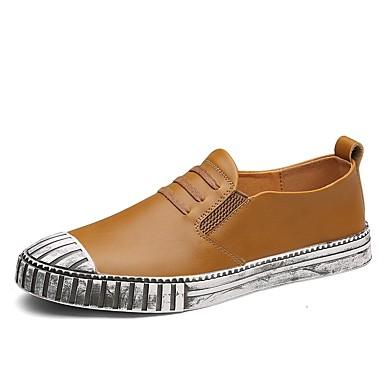 Men's Cowhide Summer / Fall Comfort Loafers & Slip-Ons Walking Shoes Black / Dark Blue / Light Brown