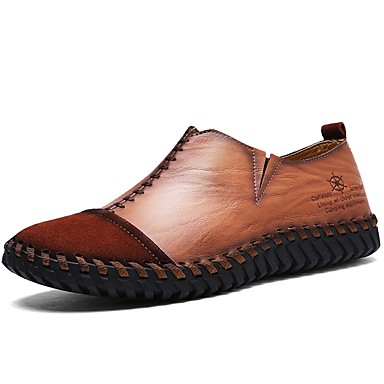 Men's Nappa Leather Spring / Fall Comfort Loafers & Slip-Ons Black / Light Brown / Party & Evening
