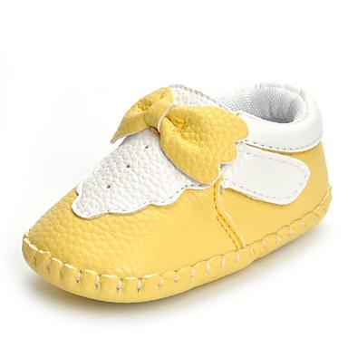 Mädchen Schuhe Kunstleder Frühling Komfort Flache Schuhe Schleife / Klettverschluss für Gelb / Rosa