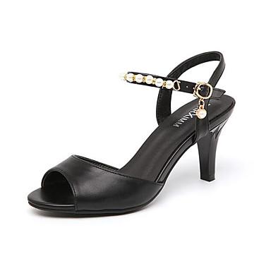 Damen Sandalen Komfort Künstliche Mikrofaser Polyurethan Sommer Normal Weiß Schwarz 7,5 - 9,5 cm