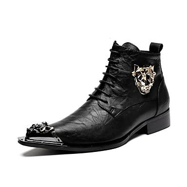 Férfi Fashion Boots Bőr Ősz / Tél Csizmák Fekete / Party és Estélyi