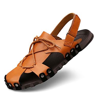 Férfi cipő Nappa Leather Nyár Ősz Kényelmes Szandálok Vízi cipő mert Szabadtéri Ruha Fekete Világosbarna