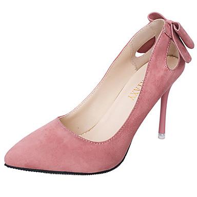 Damen High Heels Walking Komfort Kaschmir Frühling Normal Schleife Stöckelabsatz Schwarz Grau Rosa Mandelfarben 7,5 - 9,5 cm