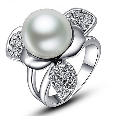 Damen Ringformen Bandringe Ring Imitierte Perlen Strass Personalisiert Blumig Luxus Einzigartiges Design Tier Design Grundlegend