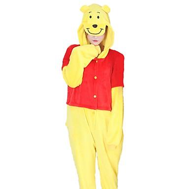 Adults' Kigurumi Pajamas Bear Onesie Pajamas Costume Flannel Fabric Yellow Cosplay For Animal Sleepwear Cartoon Halloween Festival / Holiday / Christmas