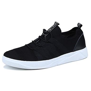 Herrn Schuhe Gestrickt Stoff Frühling Herbst Komfort Sneakers Schnürsenkel für Normal Draussen Weiß Schwarz Grau