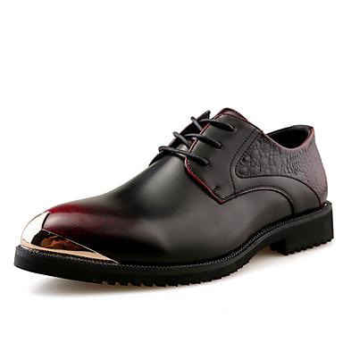 Férfi cipő Bőr Ősz Formai cipő Kényelmes Félcipők Fém sarok mert Hivatal és karrier Party és Estélyi Fekete Piros