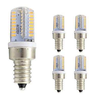 5pcs 3 W 260 lm E12 LED kukorica izzók T 64 LED gyöngyök SMD 3014 Meleg fehér / Hideg fehér 220-240 V / 5 db. / RoHs