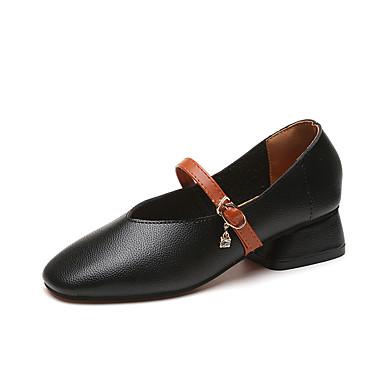 Damen Schuhe TPU Frühling Herbst Komfort High Heels Walking Block Ferse Runde Zehe Schnürsenkel für Normal Schwarz Beige Grau Gelb Rosa