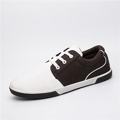 Herren Schuhe PU Frühling Sommer Herbst Winter Komfort Leuchtende Sohlen Sneakers Walking Kombination Für Normal Weiß Braun Blau
