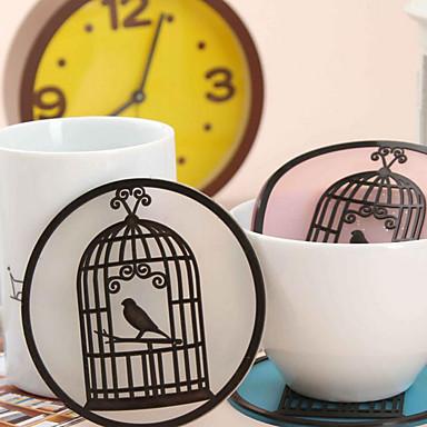 mat rétro birdcage napperon silicone vaisselle pad tasse d'isolation coaster (couleur aléatoire)