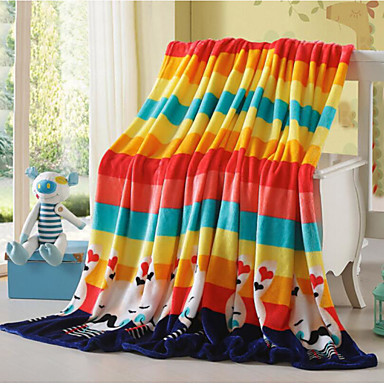 Superweich Streifen Polyester Decken