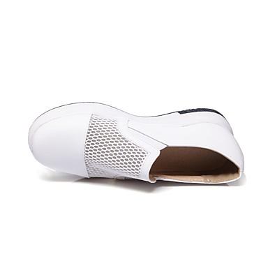 Damen Schuhe PU Sommer Komfort Flache Schuhe Flacher Absatz Runde Zehe Für Normal Weiß Schwarz