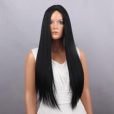 Szintetikus parókák Egyenes Szintetikus haj Fekete Paróka Női Hosszú Természetes paróka Sapka nélküli