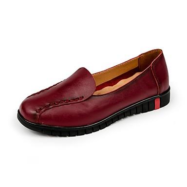 Women's Leatherette / Cowhide Summer / Fall Comfort Loafers & Slip-Ons Flat Heel Round Toe Split Joint Black / Red
