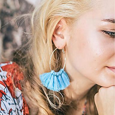 Damen Quaste Kreolen - Quaste Modisch Gelb Blau Rosa Kreisform Ohrringe Für Alltag
