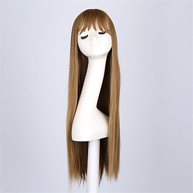 Synthetic Wig Straight With Bangs Synthetic Hair Brown Wig Women's Long Capless Brown