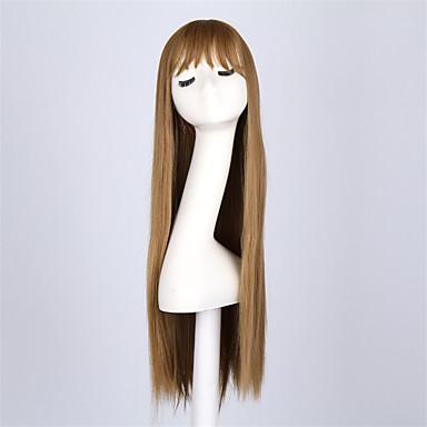 Synthetische Perücken Glatt Mit Pony Synthetische Haare Braun Perücke Damen Lang Kappenlos