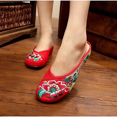 Damen Schuhe Stoff Sommer Komfort Slippers & Flip-Flops für Normal Schwarz Rot Grün