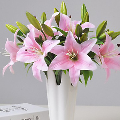 1 فرع البلاستيك الزنابق أزهار الطاولة زهور اصطناعية