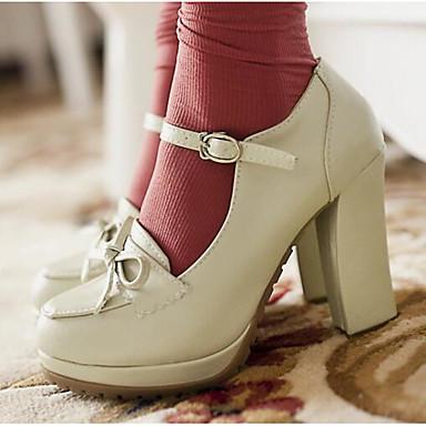 Damen Schuhe PU Frühling Komfort High Heels Für Normal Schwarz Beige Braun