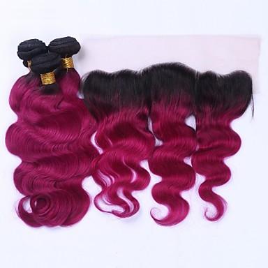 3 Bundles with Closure Brazilian Hair Body Wave Virgin Human Hair Ombre Hair Weaves / Hair Bulk 12-20 inch Ombre Human Hair Weaves 4x13 Closure 8a Human Hair Extensions