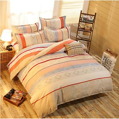 Geometrisch 4 Stück Baumwolle Baumwolle 4-teilig (1 Bettbezug, 1 Bettlaken, 2 Kissenbezüge)